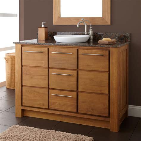 houzz vanity 48 quot venica teak vanity for semi recessed sink modern