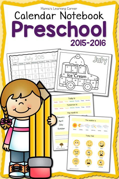 printable calendar 2015 notebook free printable 2015 2016 preschool calendar notebook