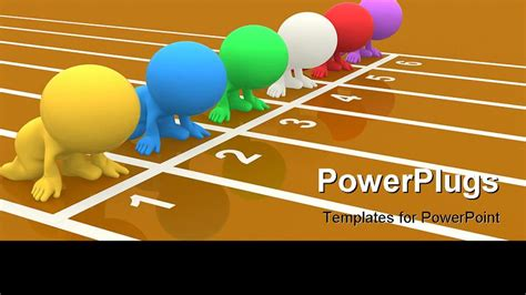 sport powerpoint template colorful 3d set on your marks ready to race