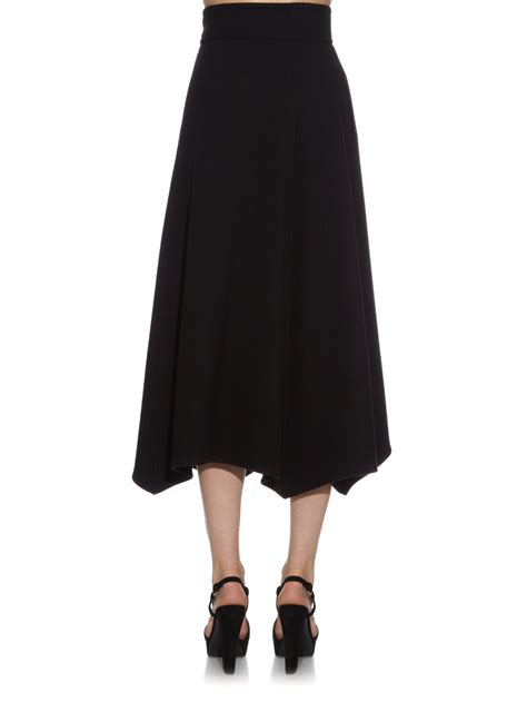 lemaire belted yak wool midi skirt in black lyst