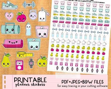 etsy shop kawaii printable planner stickers k011 partymazing kawaii steps and run tracker stickers for your planner