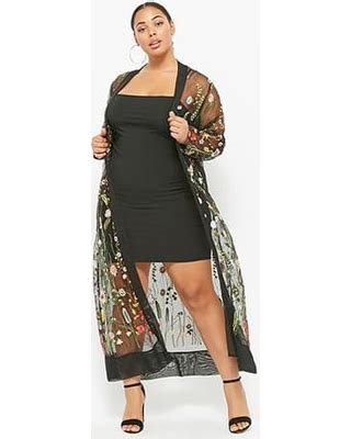 Big Ufufy Big Size Daster amazing deal on plus size sheer embroidered duster kimono