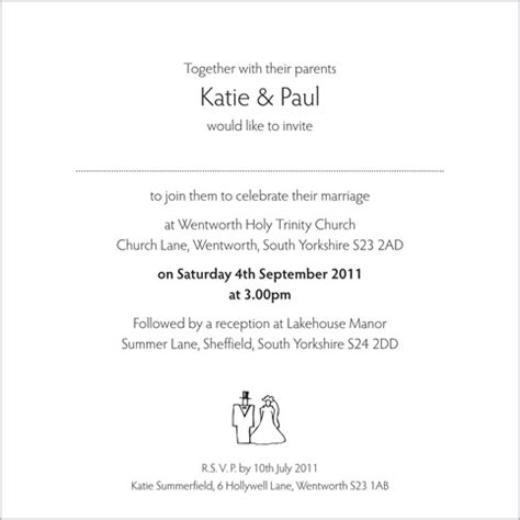 wording for wedding invitations from and groom wedding invitation wording from and groom