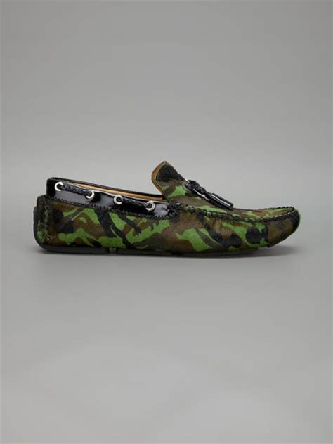 jimmy choo camo loafer jimmy choo camouflage print loafer in green for lyst