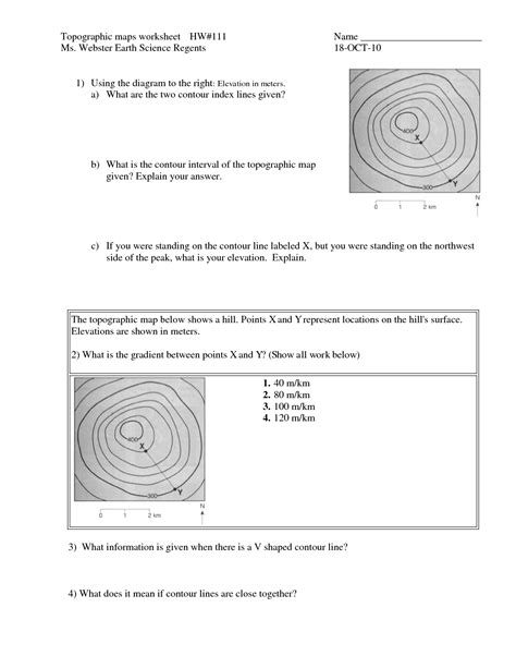 topographic maps worksheet 6 best images of topographic map worksheets printable topographic map reading worksheet