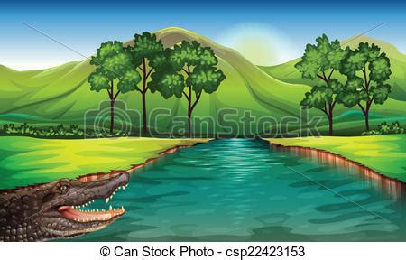 Beach House Plans Free Clipart Vector Of A River With An Alligator Illustration