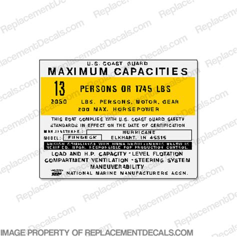 hurricane deck boat replacement decals boat capacity decals