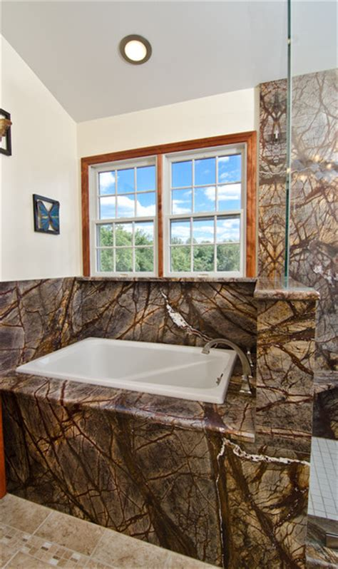 Granite Bathtub Wall Surround by Rainforest Brown Granite Vanity Tub Surround And Shower Wall Eclectic Bathroom Dc Metro