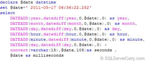 Sql Server Floor by Floor A Datetime In Sql Server
