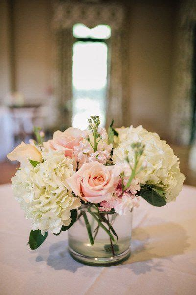 simple wedding centerpiece idea white hydrangeas