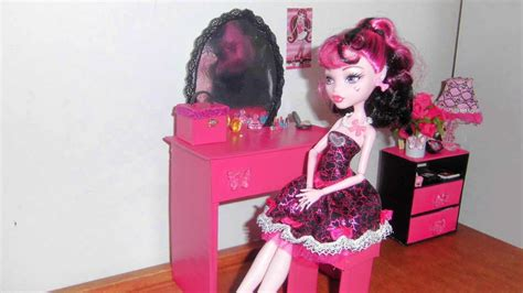 how to make a barbie doll bedroom how to make a bedroom vanity for doll monster high barbie etc youtube