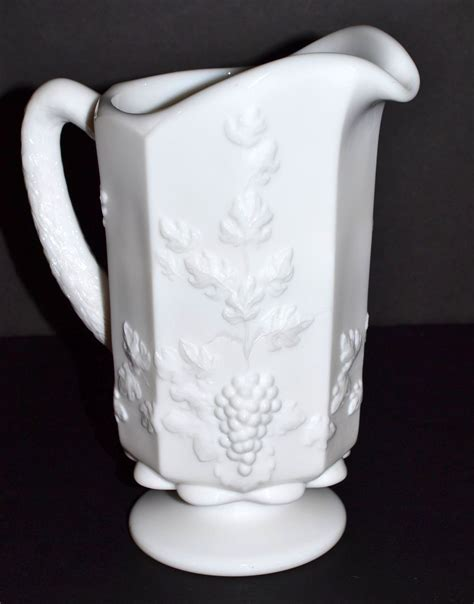 westmoreland paneled grape milk glass pitcher sold ruby lane