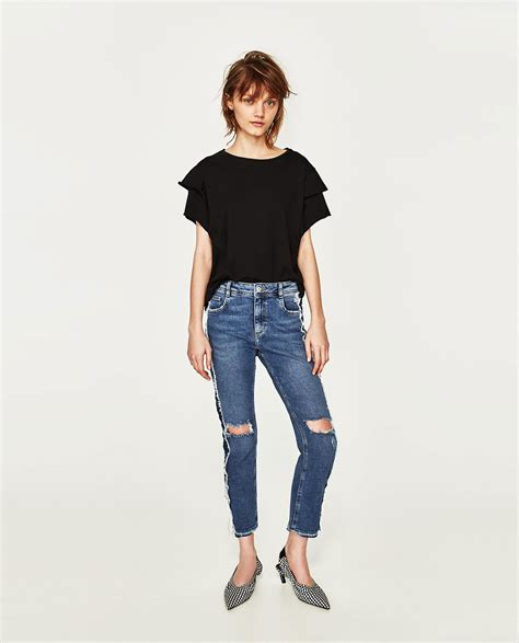 Frilled Sleeve Shirt zara frilled sleeve t shirt in black lyst