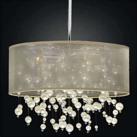 beaded chandelier l shades drum shade chandelier pearl like beads chagne 640
