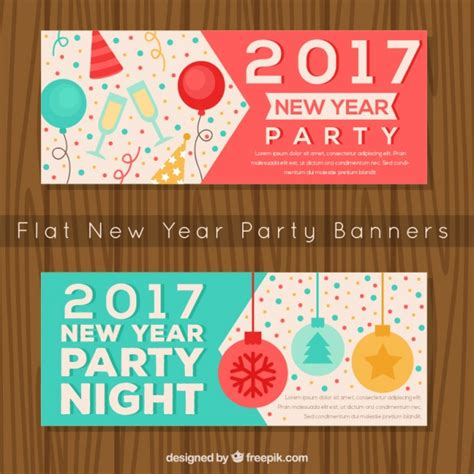 free vector new year banner new year banners with elements vector free