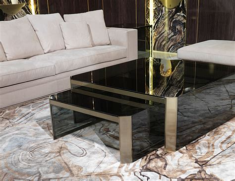 Nella Vetrina Visionnaire Ipe Cavalli Barrett Smoked Glass Luxury Coffee Table