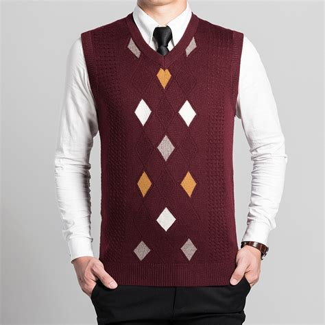 knitting pattern mens sleeveless vest new arrival autumn spring fashion mens argyle knitting
