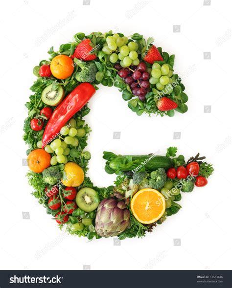 g vegetables fruit and vegetable alphabet letter g stock photo