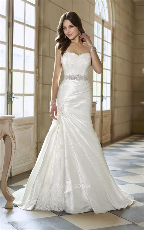 sweetheart strapless a line split wedding dresscherry