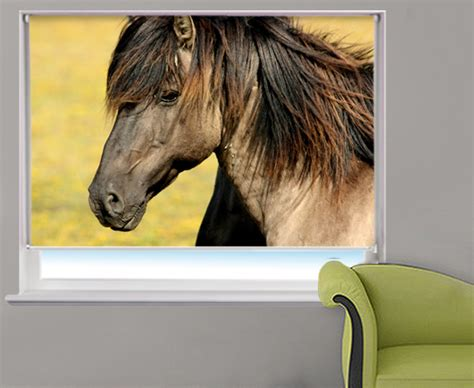 horse patterned roller blinds photo roller blind horse close up photo custom window