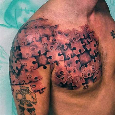 shoulder piece tattoos for men realistic shoulder and chest puzzle