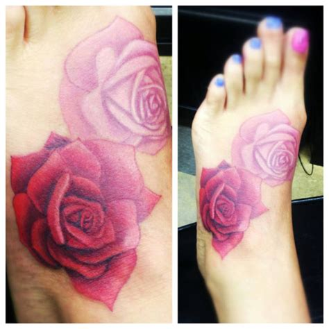 pink and red rose tattoos pink and roses on foot for by anny anarchy