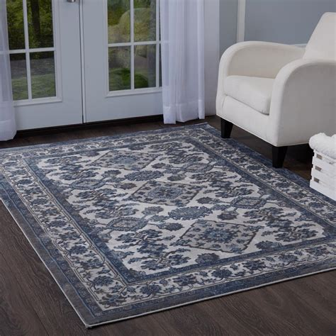 10 Ft Gray Blue Rugs home dynamix bazaar elegance gray blue 7 ft 10 in x 10