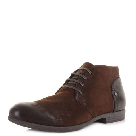 mens replay emit brown real leather lace up fashion