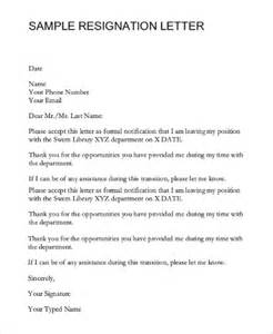 Letter Of Resignation Email by Sle Resignation Email 7 Exles In Pdf Word