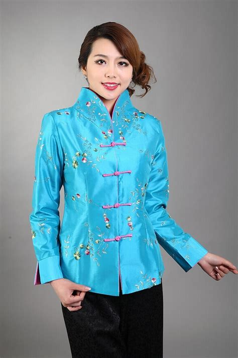 Black Back Embroidered Coat Size S M L 1 light blue traditional style s silk satin embroidery jacket coat flowers size s m