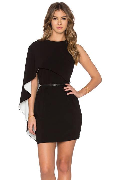 Sleeve Asymmetrical Dress lyst asymmetrical sleeve mini dress in black