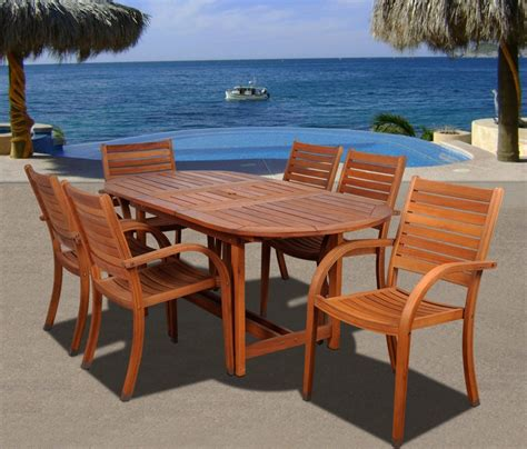 Amazonia Arizona 7 Piece Wood Outdoor Dining Set With 83 6 Chair Patio Dining Set