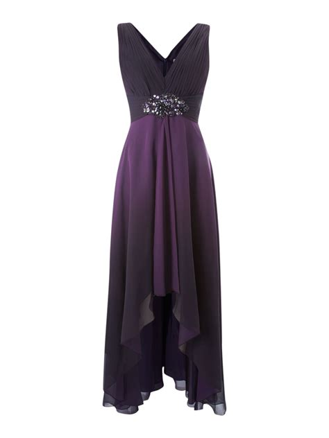 Js V js collections ombre v neck high low beaded dress in
