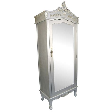 armoire with mirror doors french silver single door armoire with mirrored door la