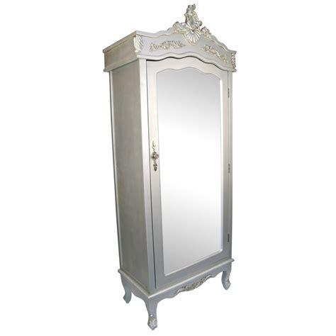 French Silver Single Door Armoire with Mirrored Door