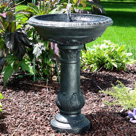 outdoor oasis solar bird bath fountain w battery back up