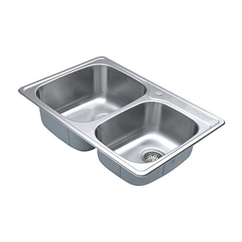Non Stainless Steel Kitchen Sinks Kraus Ktm32 33 Inch Topmount 60 40 Bowl 18 Stainless Steel Kitchen Sink Buy
