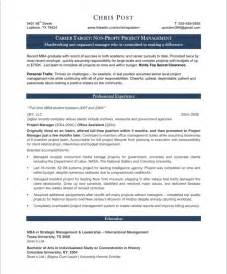 project manager resume exles project manager resume sle
