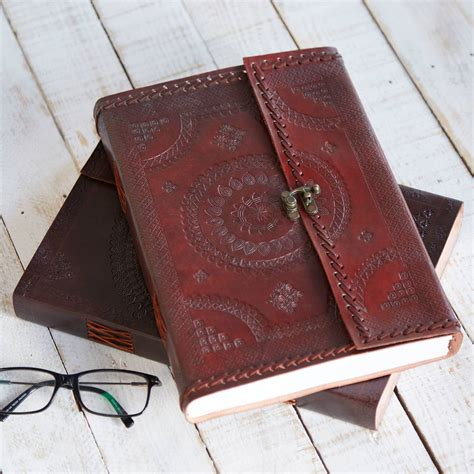 Handcrafted Journal - handcrafted indra a4 embossed leather journal by paper