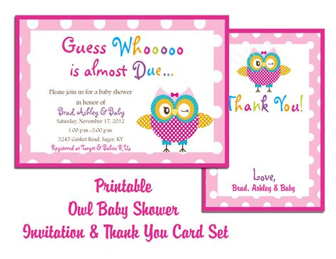 Baby Shower Invitations Downloadable Templates thank you card printable templates new calendar template