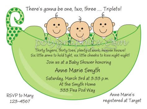 Three Peas In A Pod Baby Shower by 3 Peas In A Pod Triplets Baby Shower Card Details