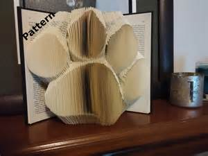 Paw print folded book art pattern diy by keeponbooking on etsy