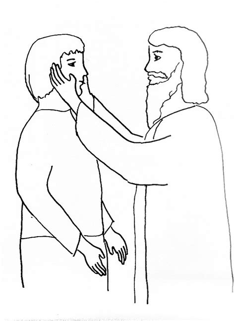 bible story coloring page for jesus heals a deaf man