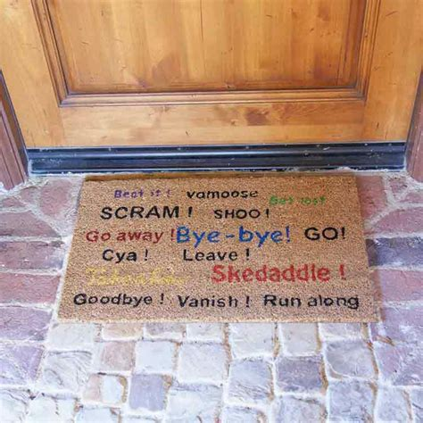 funny door mat quot go away scram leave humorous door mats quot