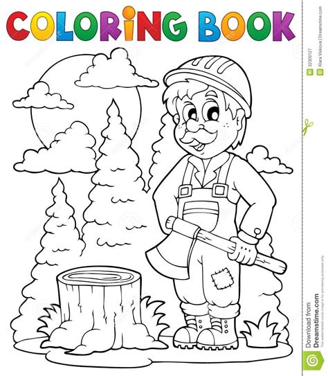 coloring book free vector coloring book lumberjack theme 1 stock vector image