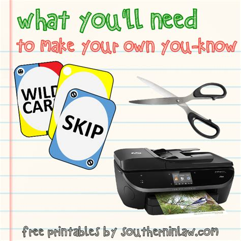 printable uno cards pdf southern in law free printable quot you know quot card game to