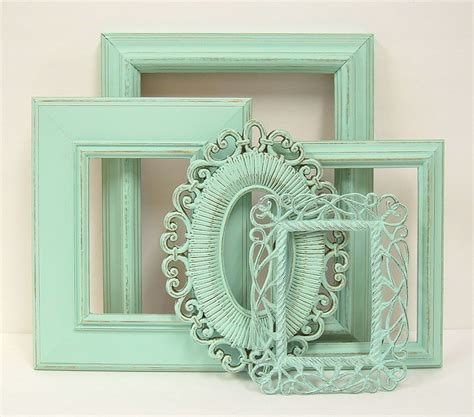 shabby chic frames pastel mint green picture frame set wedding