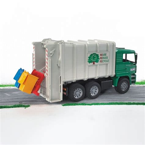 bruder garbage truck bruder toy garbage truck rear loading green