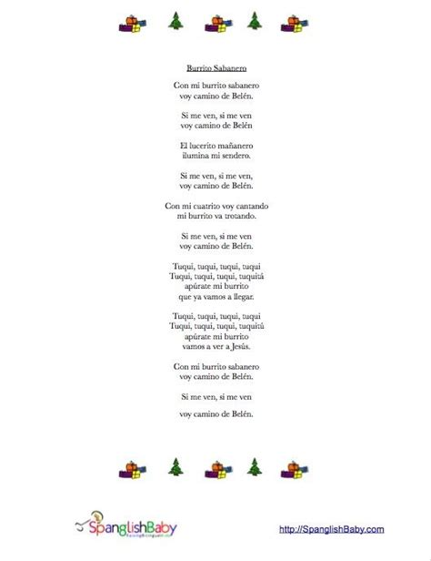printable version of song lyrics 1000 images about spanish holiday resources on pinterest