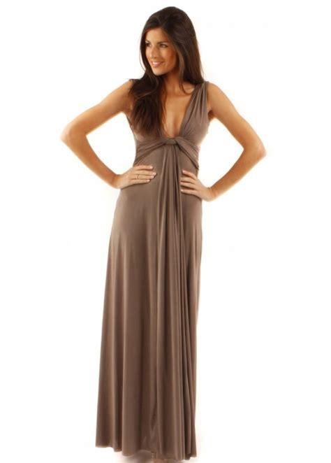 draped goddess dress city goddess taupe grecian maxi dress city goddess